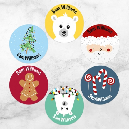 Father-Christmas-and-Friends-Personalised-Kids-Stickers-Pack-of-48