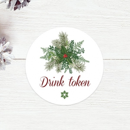 Festive Winter Foliage - Drink Tokens - Pack of 30