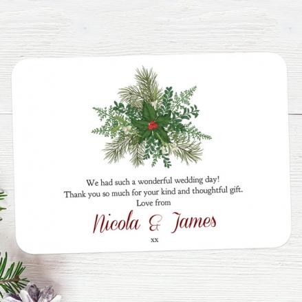 Festive Winter Foliage - Wedding Thank You Cards