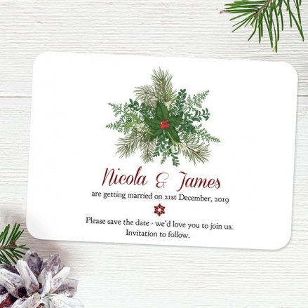 Festive Winter Foliage - Save the Date Cards