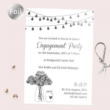 Foil Engagement Party Invitations - Festoon Lights & Flowers