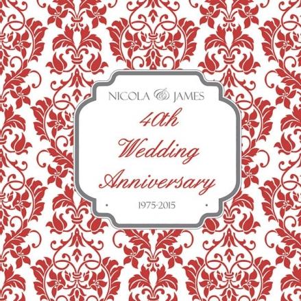 40th Wedding Anniversary Invitations - Floral Pattern