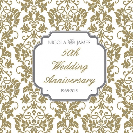 50th Wedding Anniversary Invitations - Floral Pattern