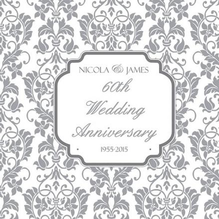 60th Wedding Anniversary Invitations - Floral Pattern