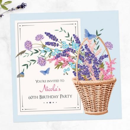 60th Birthday Invitations - Flower Basket
