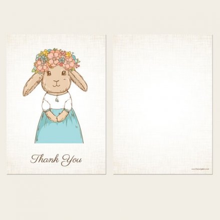 Ready to Write Kids Thank You Cards - Flower Bunny