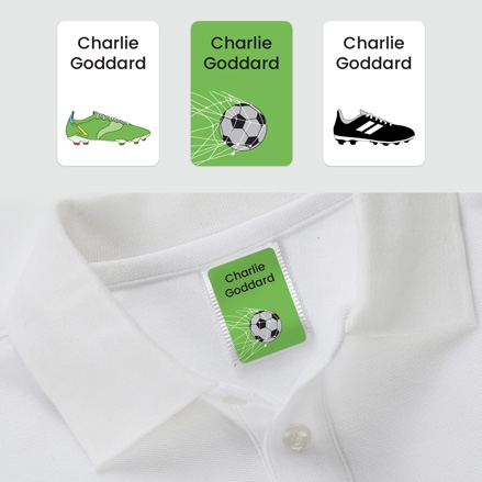 No Iron Personalised Stick On Clothing Name Labels - Football - Mixed Pack of 56