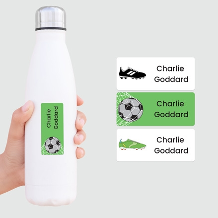Personalised Stick On Waterproof (Equipment) Name Labels - Football - Mixed Pack of 30