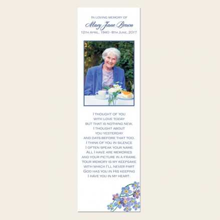 Funeral Bookmark - Forget Me Not Border