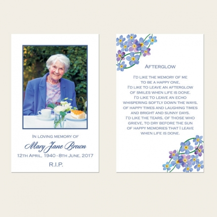 Funeral Memorial Cards - Forget Me Not Border