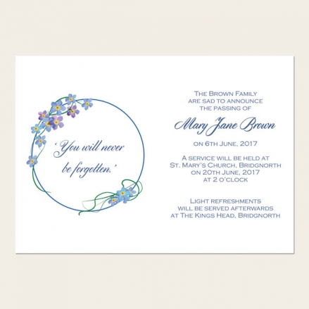 Funeral Announcement Cards - Forget Me Not Border