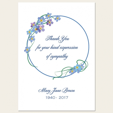 Funeral Thank You Cards - Forget Me Not Border