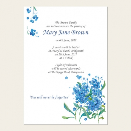 Funeral Announcement Cards - Forget Me Not Bouquet