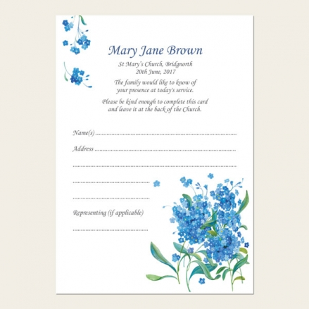 Funeral Attendance Cards - Forget Me Not Bouquet