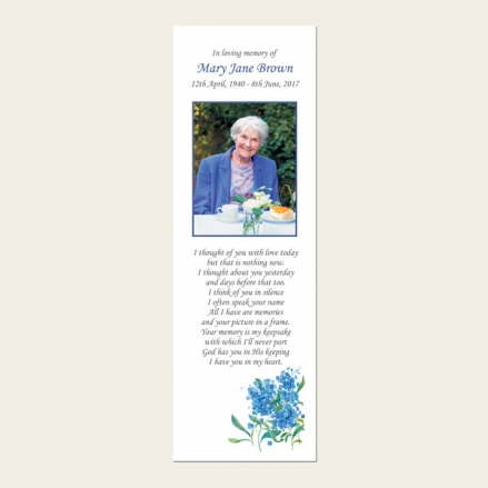 Funeral Bookmark - Forget Me Not Bouquet