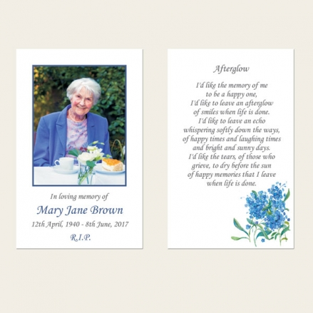 Funeral Memorial Cards - Forget Me Not Bouquet