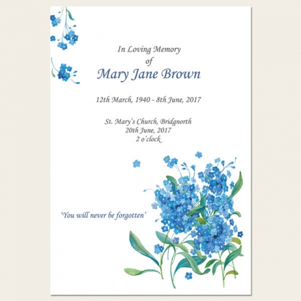 Funeral Order of Service - Forget Me Not Bouquet