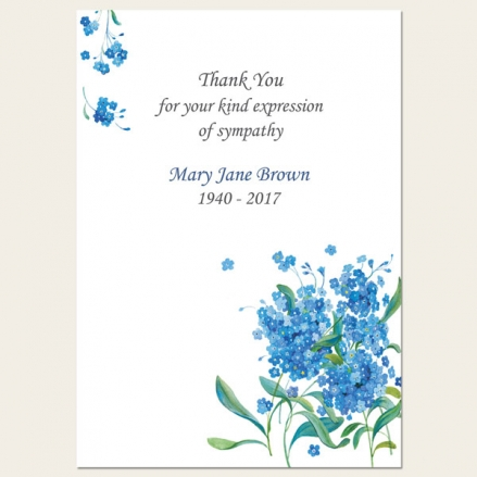 Funeral Thank You Cards - Forget Me Not Bouquet