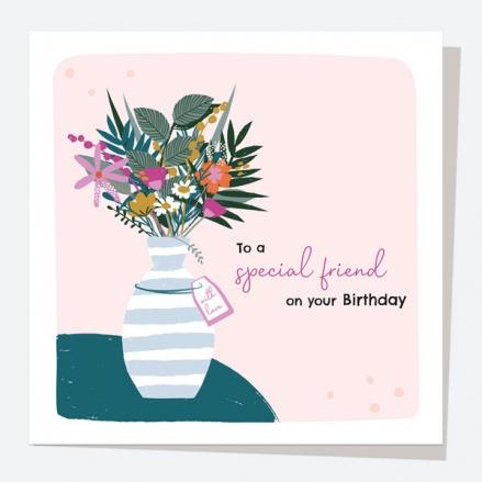 Friend Birthday Card - Pretty Wildflowers - Vase - Special Friend