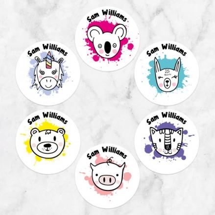Girls Fun Animal Splash - Personalised Kids Stickers - Pack of 48