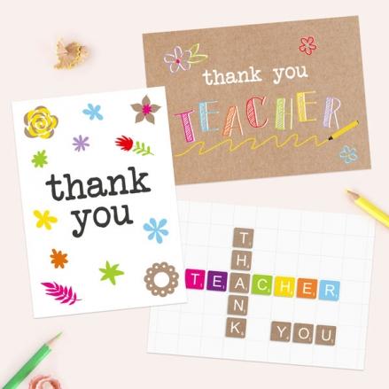 Fun Kraft Teacher Thank You Cards - Pack of 6