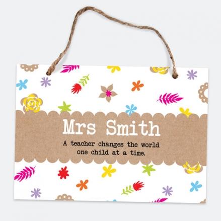 Fun Kraft Paper Flowers - A5 Personalised Teacher Sign