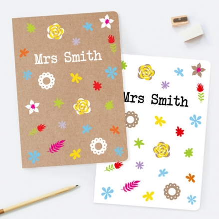 Fun Kraft Paper Flowers - Personalised A5 Exercise Books - Pack of 2