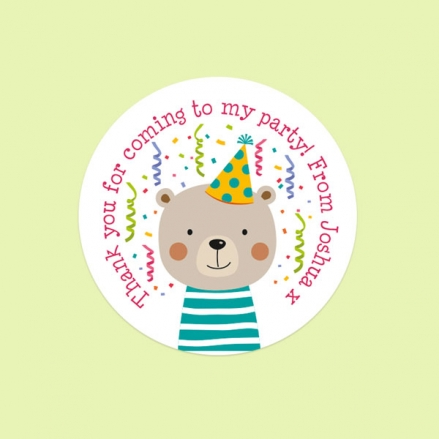 Fun Party Bear - Sweet Bag Stickers - Pack of 35