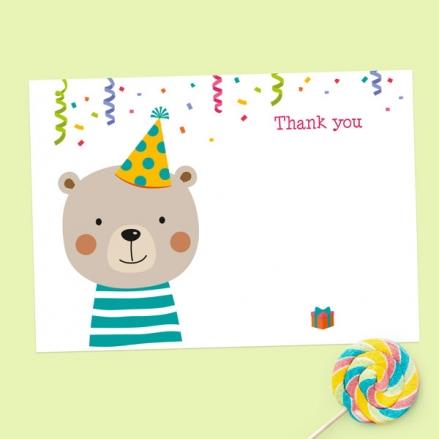 Ready to Write Kids Thank You Cards - Fun Party Bear