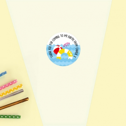 Fun Pool Party - Sweet Cone Bag & Sticker - Pack of 35