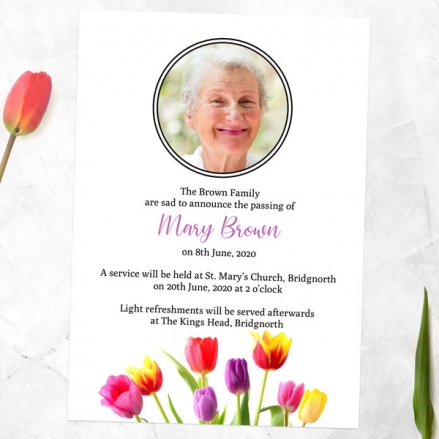 Funeral-Announcement-Cards-Bright-Tulips-Photo