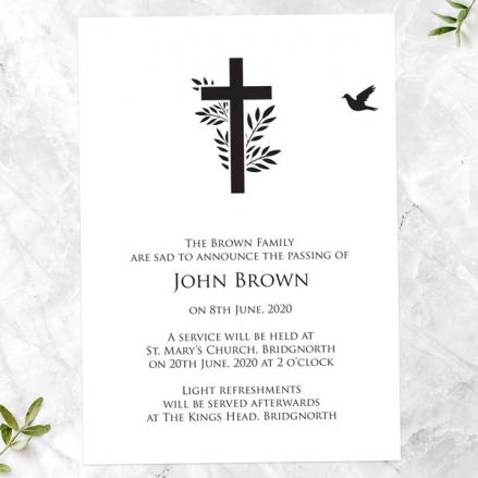 Funeral Announcement Cards - Cross & Flying Bird