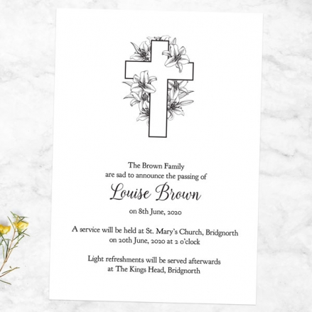 Funeral Announcement Cards - Cross & Lilies