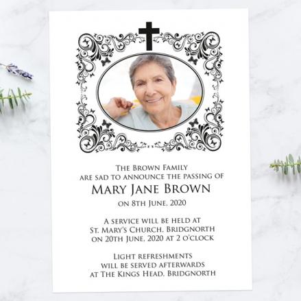 Funeral-Announcement-Cards-Ornate-Scrolls-&-Butterflies