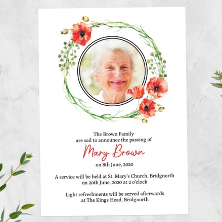 Funeral-Announcement-Cards-Poppy-Garland-Photo