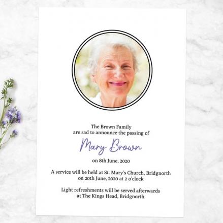 Funeral Announcement Cards - Vintage Garden Flowers Photo