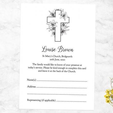 Funeral Attendance Cards - Cross & Lilies