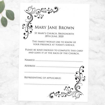 Funeral Attendance Cards - Elegant Scrolls
