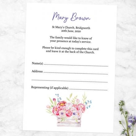 Funeral Attendance Cards - Vintage Garden Flowers
