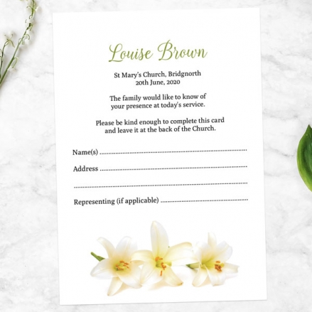 Funeral-Attendance-Cards-White-Lilies-Photo