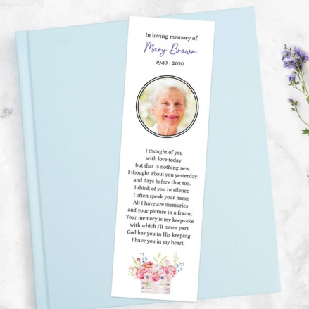 Funeral-Bookmark-Vintage-Garden-Flowers-Photo