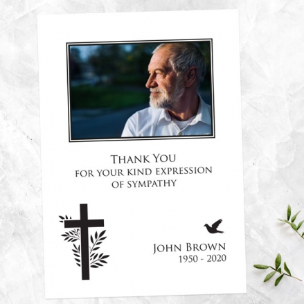Funeral Thank You Cards - Cross & Flying Bird Photo