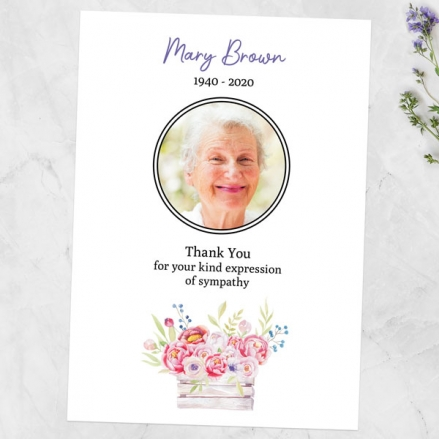 Funeral Thank You Cards - Vintage Garden Flowers Photo