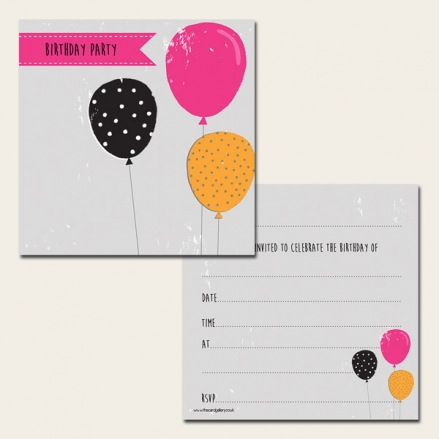 Ready to Write Kids Birthday Invitations - Funky Balloons - Pack of 10