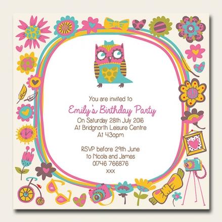 Personalised Kids Birthday Invitations - Funky Owl - Pack of 10