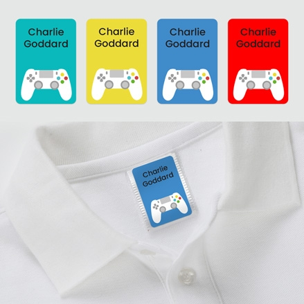No Iron Personalised Stick On Clothing Name Labels - Game Controller - Mixed Pack of 56