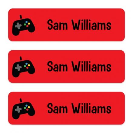 Medium Personalised Stick On Waterproof (Equipment) Name Labels - Gaming - Pack of 42