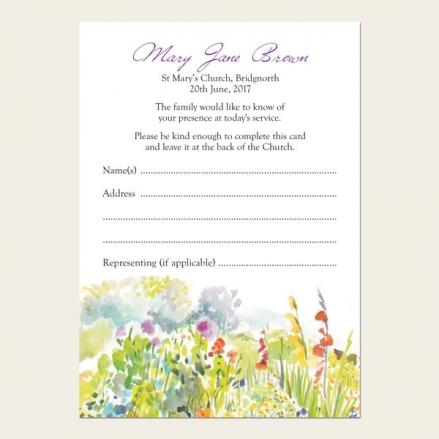 Funeral Attendance Cards - Garden Flowers