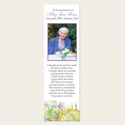 Funeral Bookmark - Garden Flowers