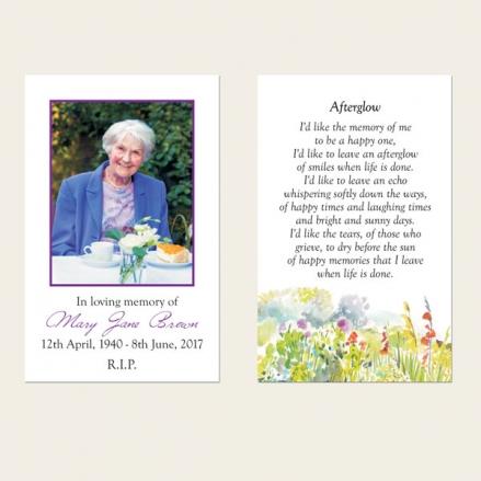 Funeral Memorial Cards - Garden Flowers